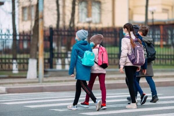 school children cross road medical