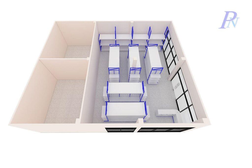 แผนผังชั้นวางสินค้าสีน้ำเงิน 3D