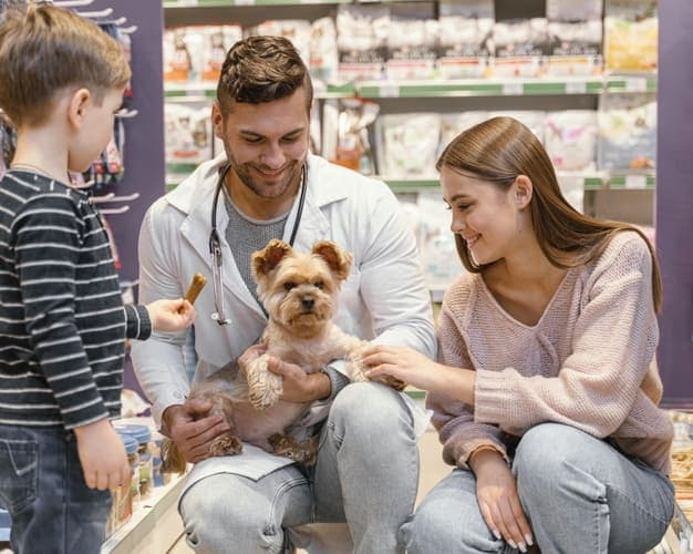 little dog on pet shop with owner modern trade