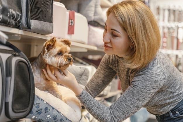 woman holding cute dog pet shop
