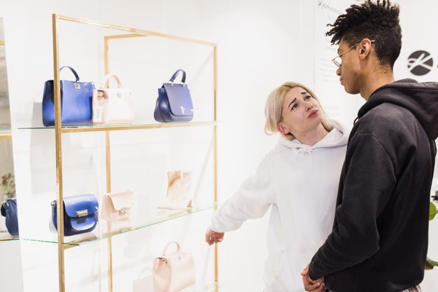 handbag on shelf gift shop